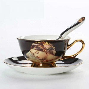 High Quality Bone Porcelain Coffee Cups Vintage Ceramic Cups On-glazed Advanced Tea Cups And Saucers Sets Luxury Gifts