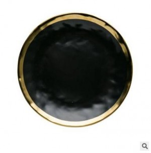 High-grade Black Gold Series Matte Ceramic Gold-plated Side Western Steak Dish Creative Dish Plate Fruit Flat Plate