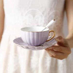High-Grade Bone European Phnom Penh Coffee Cup Pastoral Afternoon Tea Ceramic Tea Black Tea Cup Dish Spoon Cup British