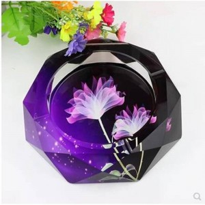 High-grade crystal ashtray, home decor, home and office supplies, 12 cm in diameter
