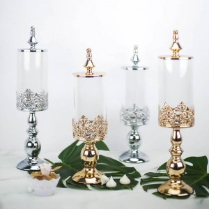 High-grade European Metal base Candy jar wedding dessert table decoration Covered Glass cans snack biscuit Storage tank