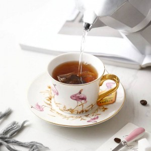 High Quality Bone Pink bird Coffee Cup and Saucer Sets With Gold Spoon Large Capacity Afternoon Tea Black Tea Cup
