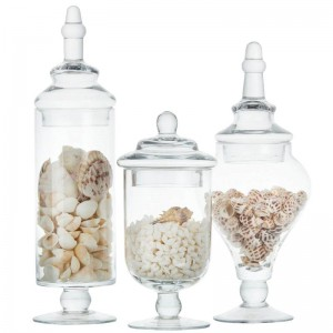 High quality Candy jar glass storage bottle transparent storage tank wedding decoration set table cap food container bottles