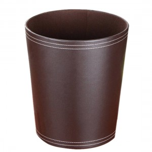 High Quality Round Shape Solid Color PU Garbage Can Wastebasket Paper Basket Trash Can Dust Case Holder Garbage Bin Wastebin