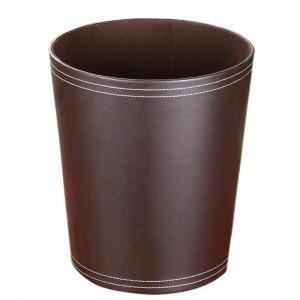 High Quality Round Shape Solid Color PU Garbage Can Wastebasket Paper Basket Trash Can Dust Case Holder Garbage Bin Wastebin