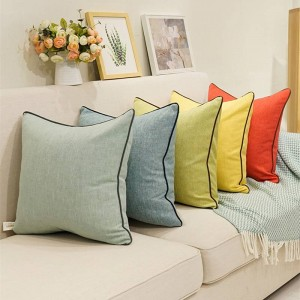 High Quality Solid Cushion Cover Cotton Linen Pillow Cover Pure Car Cover Throw Pillows Cojines Decorativos Para Sofa Festival