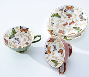 Home butterfly teacup classical afternoon tea bone cup coffee cup 24k gold