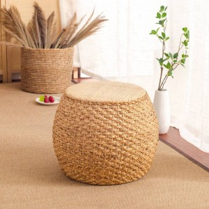Home Collection Rattan Small Stool Ottoman Footrest Modern Round Foot Stool For Living Room Den Bedroom Rattan Chair Modernity
