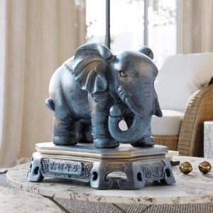 Home Decoration accessories lucky elephant couple figurine resin statue ornaments for living room office tabletop for gift