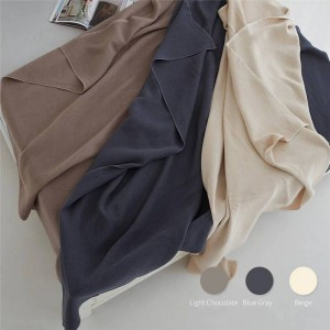 Honeycomb Air Layer Towel Blanket Double Sofa Beach Solid Throw Blanket Luxury Cobertor Double Blankets For Beds 3 Colors
