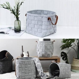 Household Manual Knitted Storage Basket Felt Storage Bag Waterproof Warm Keeping Dirty Clothing Toys Storage Basket Home Decor