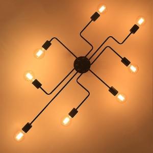 Industrial Creative Black Metal 8-Light Semi Flush Mount Ceiling Light & Exposed Globe Bulb