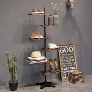 Industrial Loft Rustic Shoe Storage Tower with 6 Rectangular Pine Wood Display Shelves & Metal Base in Matte Black