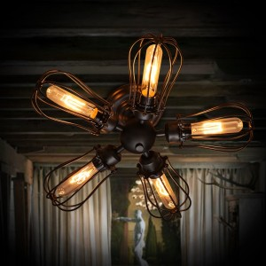 Industrial Style Wire Cage 5-Light Metal Semi Flush Mount Ceiling Light in Black Finish