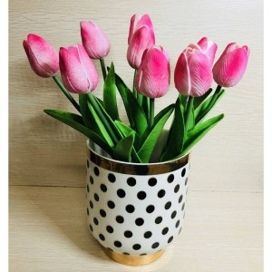 Inlaid Gold Black Dot Ceramic Vase Flower Pot Home Decoration Flower Pot