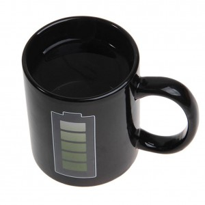 Innovative Battery Color Changing Coffee Cup Ceramic Cup Thermo Induction Mug Interesting Heat-resistant Coffee Mug
