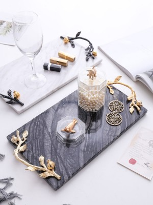 InsFashion high-class white marble seving tray with gold handle for royal style home and five-star restaurant decor