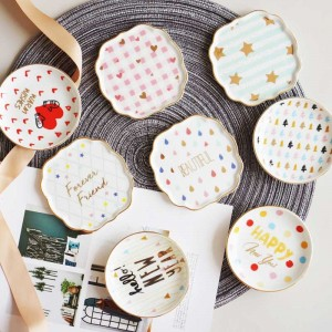 InsFashion cute round colorful pattern ceramic jewelry small dish for delicate girl's ring and ear ring storage