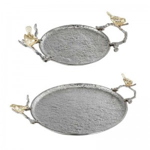 InsFashion distinctive silver uneven surface metal tray with handle and bird model for classical style home decor