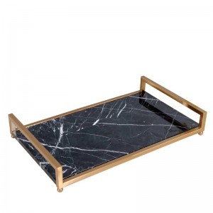 InsFashion high-class black marble serving tray with brass handle for royal style cosmetic and skin care storage tray