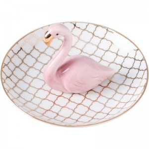 InsFashion high-class flamingo ceramic jewelry dish for nordic home decor and mother's day gift sets