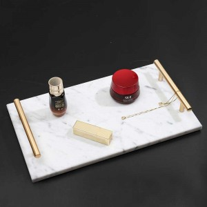InsFashion high-end and cool black marble tray with brass handle for danish style bathroom thing storage tray