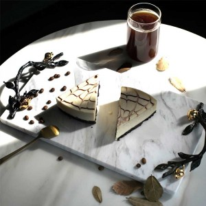 InsFashion high-end white and black marble serving tray with beautiful gold handle for five-star hotel decor
