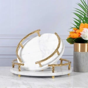InsFashion hight-class white natural marble serving tray with gold handle for rich man and 5-star hotel decor