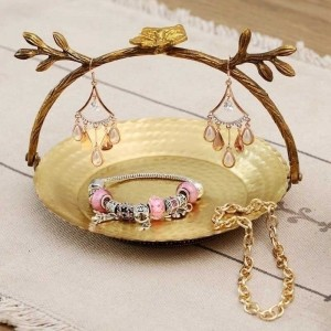 InsFashion lovely basket shaped handmade brass jewelry display tray for girlfriend gift and lovely style home decor