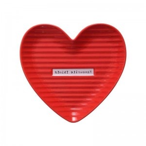 InsFashion lovely red and pink heart shaped ceramic jewelry dish for mother's day gift sets