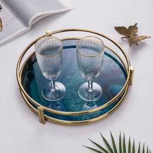 InsFashion luxury and hot glass serving tray with 3D print agate pattern and gold frame for nordic style home decor