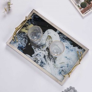InsFashion luxury handmade glass agate patterned tray for modern home decor gift set ideas