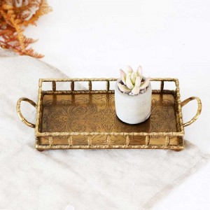 InsFashion luxury rectangle handmade brass serving tray with handles and pattern for arabic style home decor