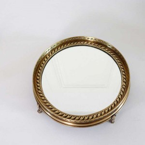 InsFashion luxury round handmade mirror brass serving tray with feet for royal wedding party event and home decor