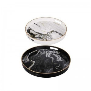 InsFashion normcore round white and black marble pattern wooden tray for fashion and modern style home decor tea tray