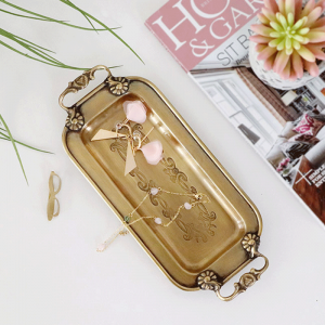 InsFashion pretty handmade brass jewelry and pen storage tray with handles for modern america style home decor