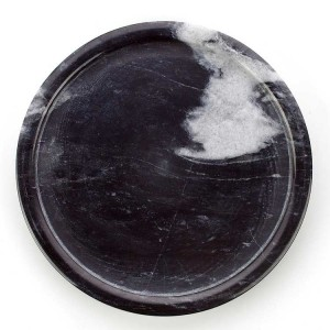 InsFashion simple style black and white round marble tray for nordic style dessert web celebrity shop