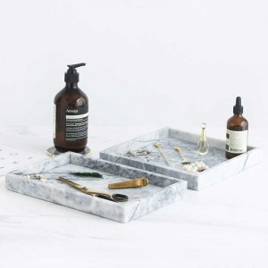 InsFashion simple style rectangle and square grey white natural marble tray for japanese style home decor and storage