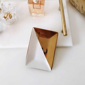 InsFashion simple style rectangle plated ceramic jewelry dish for fancy girl and australian style home decor