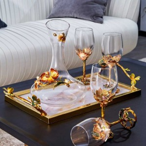 InsFashion super luxury marble serving tray with gold branch shaped handle and rhinestone for arabic style home decor