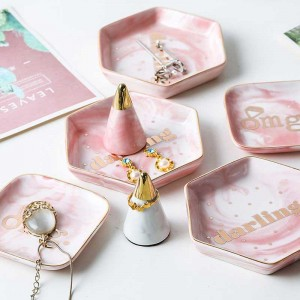 InsFashion super nice pink hexagonal marble pattern ceramic jewelry dish for fancy girl and mother's day gift sets