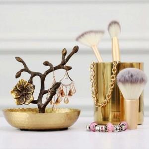 InsFashion super top plum blossom modeling hammer grain handmade brass tray for fashion jewelry shop display dish