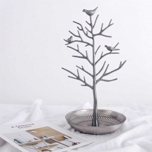 InsFashion top quality handmade jewelry display brass dish with branches and birds for fashion jewelry store