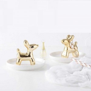 InsFashion very cute round white ceramic jewelry dish with gold puppy for jewelry store decor and beautiful gift sets