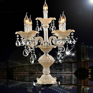Italy dining room crystal table lamp Led candlestick wedding candelabra light bedroom Kitchen table light glass candle holders