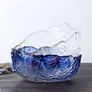 Japanese Large Transparent Glass Bowl Household Salad Shaped Dessert Bowl Heatproof Soup Bowl Large Bowl Tableware