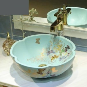 Ceramic Bathroom wash basin Art Basin Washbasin Matte Light Green Golden Butterfly pattern bathroom sinks flower