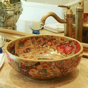 Hotel Bathroom Basin Art Balcony Washbasin Hand Washing Basin bathroom sinks bowl antique hand painted sink