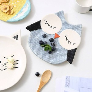 Kids Plate Snack Tray Dessert Plate Cartoon Animal Porcelain Dishes Fox/cat/owl/chick Cute Dish