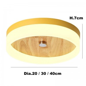 Kids room colorful macaron ceiling lights round modern simple soild wood bedroom living room ceiling lamp creative study lamps